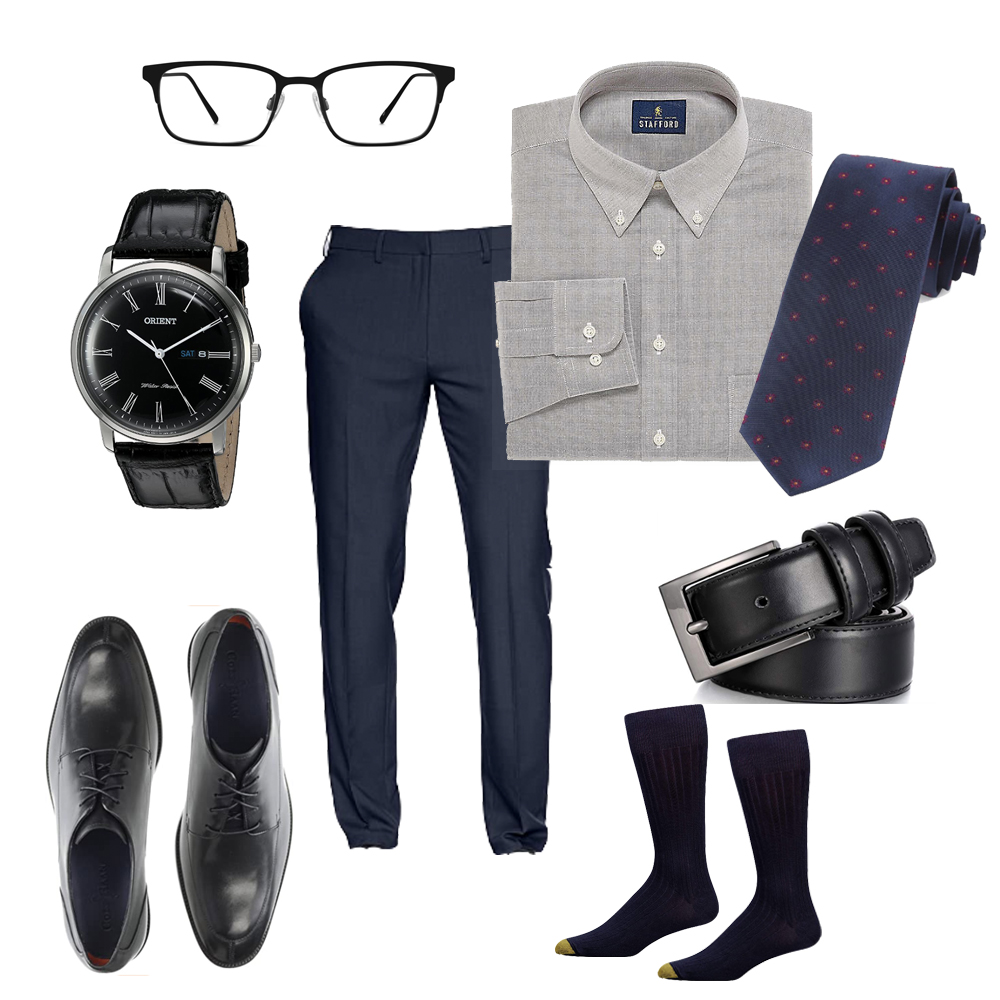Business casual with oxford cloth button down, Orient Watch, patterned tie and dress shoes.
