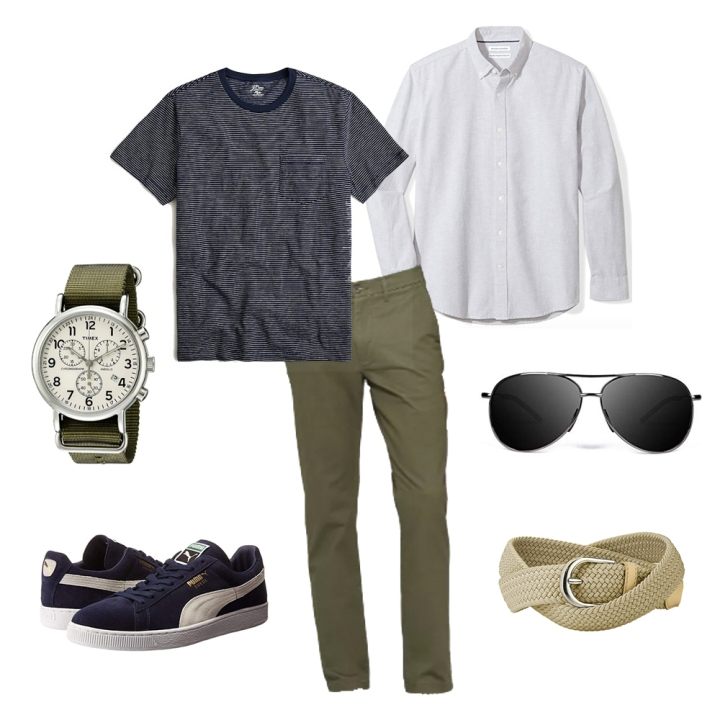 Casual butch style outfit collage with watch, classic sneakers and aviator sunglasses.
