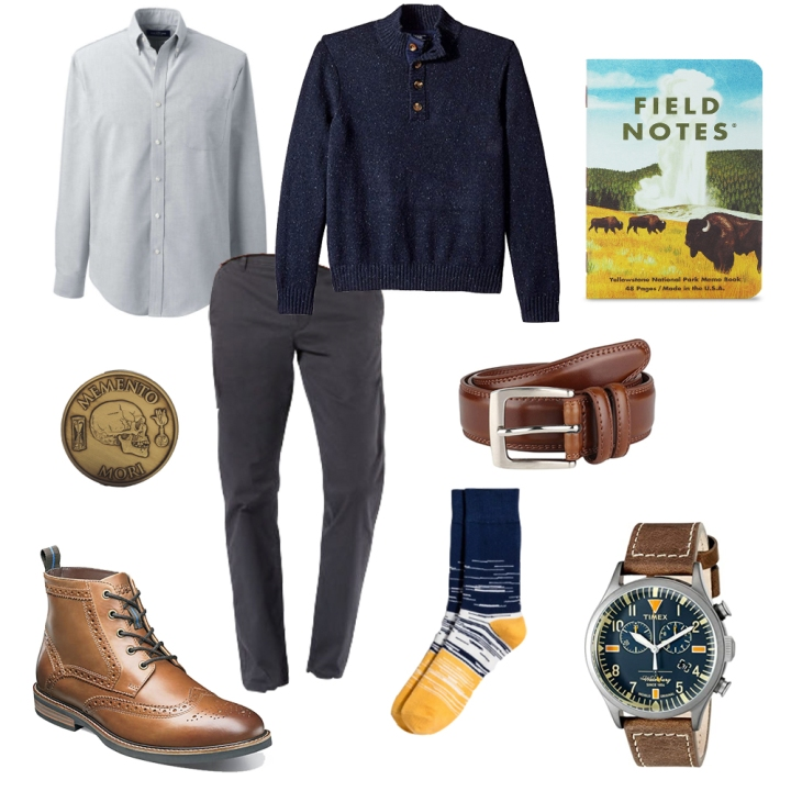 Smart casual outfit collage with boots, khakis, Timex watch and sweater.