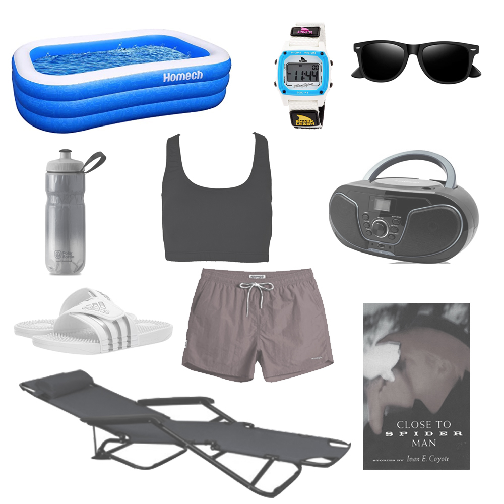 butch swimwear and inflatable pool