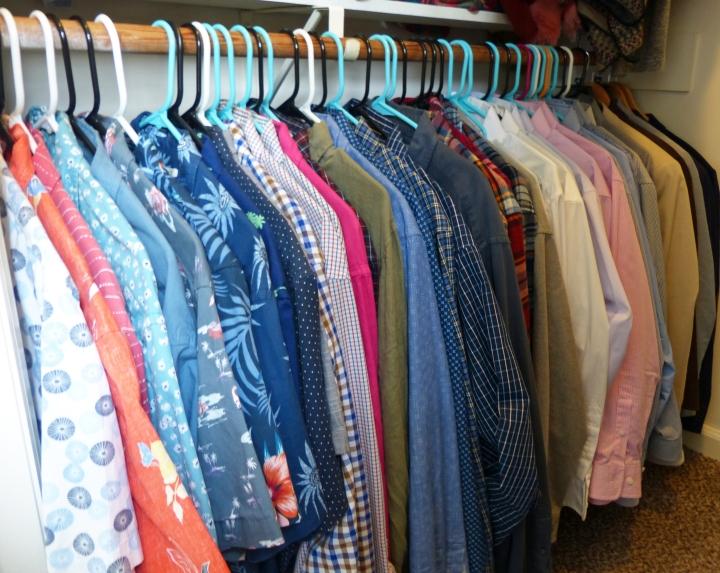 Reorganized closet.  Closet organized by color.