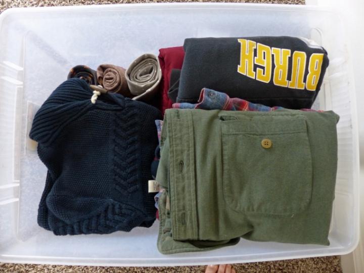 Off season clothing storage.  Clothes storage bin.
