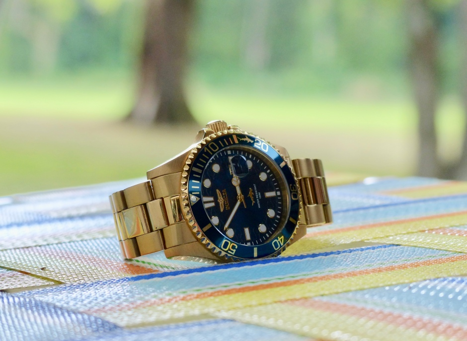 blue dial gold dive watch